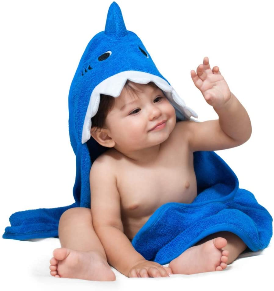 ComfyTots Shark Hooded Baby Towel: 100% Organic Bamboo Animal Ear Hood Bath Towel for Baby Boys & Girls|Ultra Soft, Extra Absorbent, Antibacterial Bath Towel for Babies & Toddlers|Top Baby Shower Gift