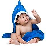 ComfyTots 鲨鱼连帽婴儿毛巾:* *竹动物耳罩浴巾,男女宝宝通用 超柔软,吸水性强,*浴巾,适合婴儿和幼儿   *婴儿送礼礼物