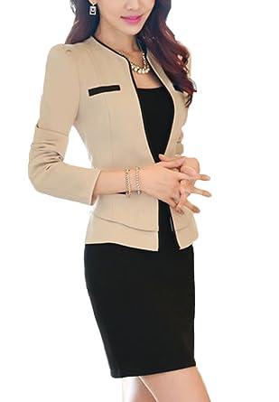 cd18db181a81 SK Studio Damen Anzug Blazer Mit Rock Slim Fit Business Rockanzug Karriere  Sakko Lange Ärmel Rock