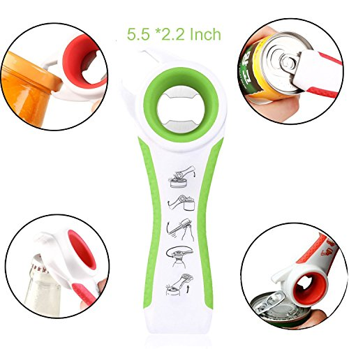 4 Function Multi Kitchen Gadgets and Tools Plastic Jar Opener(Green)
