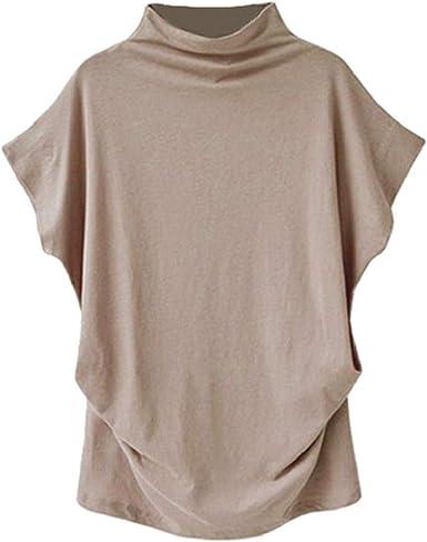 Camisetas Mujer SHOBDW Dia de la Mujer Cuello Alto De Verano Manga Corta Algodón Sólido Cultivo De Gran Tamaño Diario Blusa Informal Camisetas Sin Mangas Sueltas Camiseta Talla Grande: Amazon.es: Ropa y