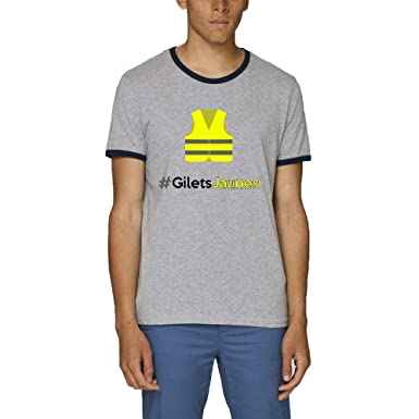 211f8618fca12 T-Shirt Premium - Manche Courte - Col Rond - Tshirt Hashtag Gilets Jaunes  Fond