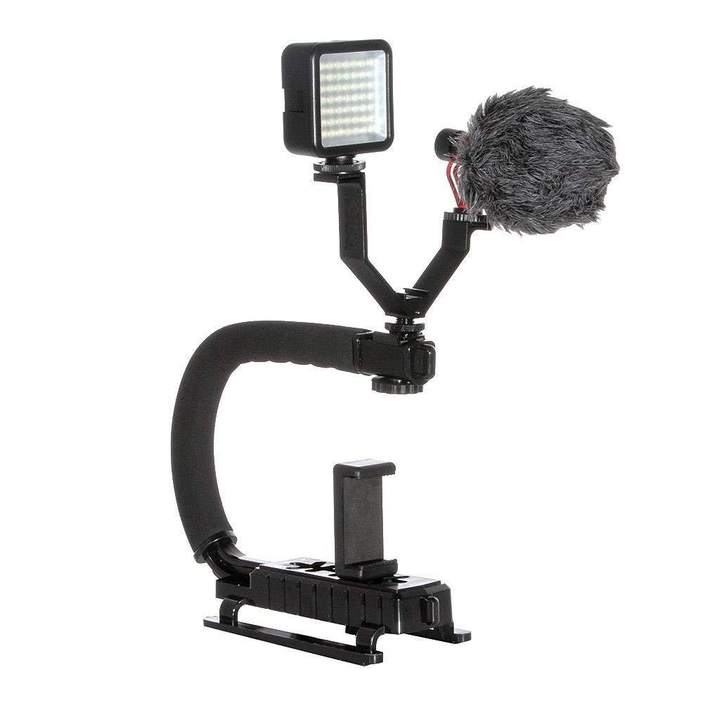 Runshuangyu ユニバーサル C型 ブラケット ハンドル グリップ スタビライザー ホルダー + 49 LED ライト キット デジタル一眼レフカメラ 写真 携帯電話 ビデオ フィルム 撮影用 QQDB868_US  Photography Kit B07GQM8LQX