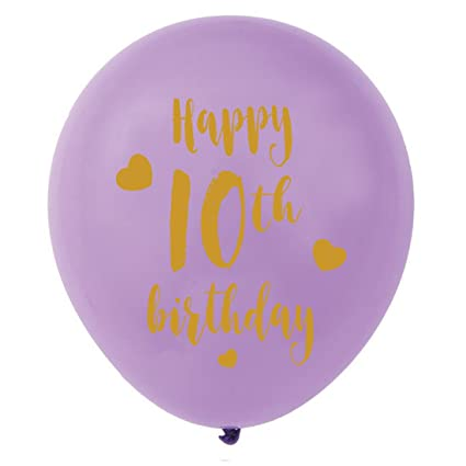 Purple 10th Birthday Latex Balloons 12inch 16pcs Girl Gold Happy Party