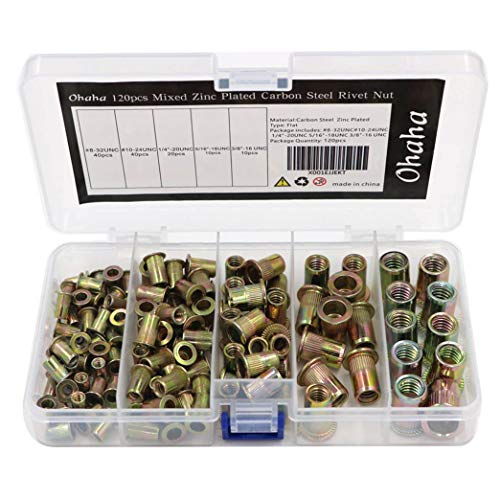 "Ohaha 120pcs Mixed Zinc Plated Carbon Steel Rivet Nut Flat Head Insert Nutsert #8-32UNC#10-24UNC 1/4""-20UNC 5/16""-18UNC 3/8""-16 UNC"