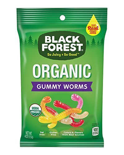 Black Forest Organic Gummy Worms Candy, 4 oz Bag, Pack of 12