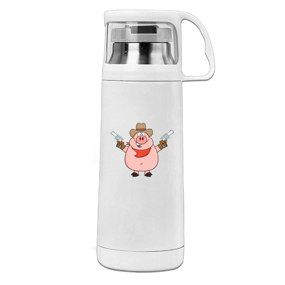 カレンガーデンCartoon Pig Hold Gunステンレススチール真空断熱ウォーターボトルリークプルーフHandledマグホワイト、12oz   B07855MZQQ