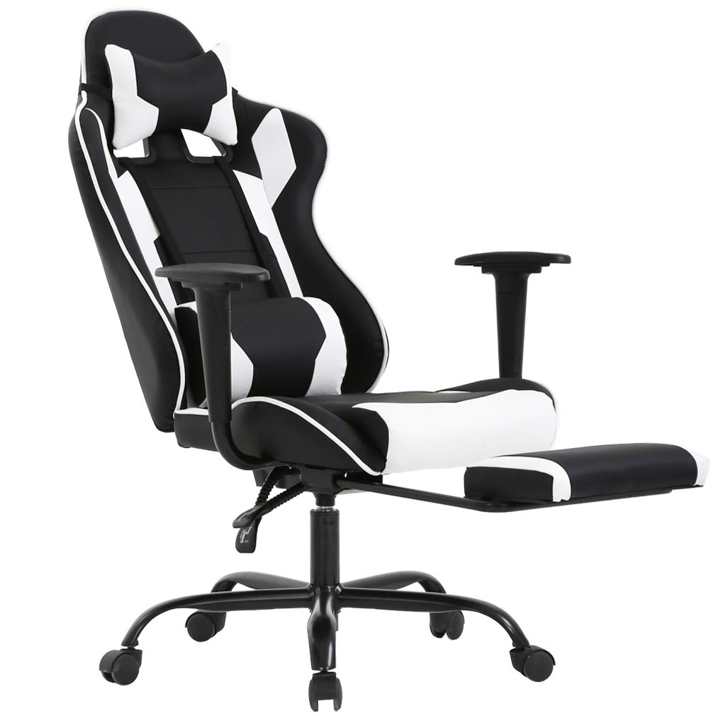 BestOffice Ergonomic Office Chair PC Gaming Chair Cheap Desk Chair Executive PU Leather Computer Chair Lumbar Support with Footrest Modern Task Rolling Swivel Chair for Women, Men(White) by BestOffice