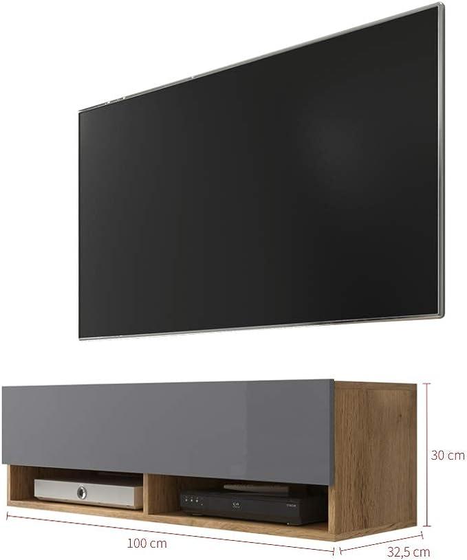 Selsey 5.90303E+12 Mueble para televisor, Chêne Wotan/Gris Brillant, Sans LED: Amazon.es: Juguetes y juegos