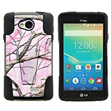 LG Optimus F60 Case, LG Transpyre Case, Full Body Fusion STRIKE Impact Kickstand Case with Exclusive Illustrations for LG Transpyre VS810PP, LG Tribute LS660, LG Optimus F60 (Verizon, Virgin Mobile, MetroPCS) from MINITURTLE | Includes Clear Screen Protector and Stylus Pen - Pink Hunter Camouflage