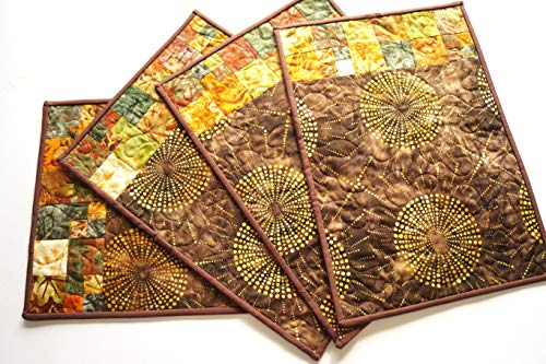 Batik Fabric Quilted Patchwork Place Mats in Fall Colors ()