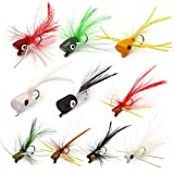 XFISHMAN Fly Fishing Poppers Lures for Bass Panfish Flies Topwater Popper for Crappie Bluegill Kit (Panfish Popper kit 10 pcs)