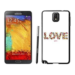 NEW Unique Custom Designed Samsung Galaxy Note 3 N900A N900V N900P N900T Phone Case With Love Floral Typography_Black Phone Case