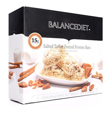 BalanceDiet | Protein Bar | 15g of Protein | Low Carb | 7 Bar Box (Salted Toffee Pretzel)