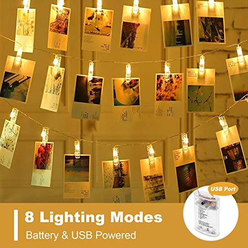 OUSFOT Photo Clips String Lights Battery & USB Powered 8 Modes Picture Hanging Lights 40 Led Photos Christmas Cards Clips Holder for Bedroom Christmas Decoration (Christmas Card Holder String Light)
