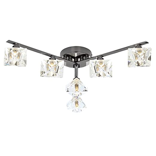 Pagazzi emilia 6 light semi flush ceiling light black chrome