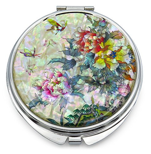 Pink Yellow Makeup Mirror Mother of Pearl Metal Dual Compact Folding Magnify Butterfly Flowers Butterfly Compact
