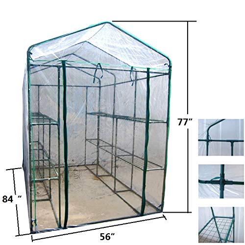MTB Outdoor Portable Walk-in Garden The Greenhouse 2 Tiers 12 Shelves with PVC Cover - 84'' Lx56 Wx77 H by MTB SUPPLY