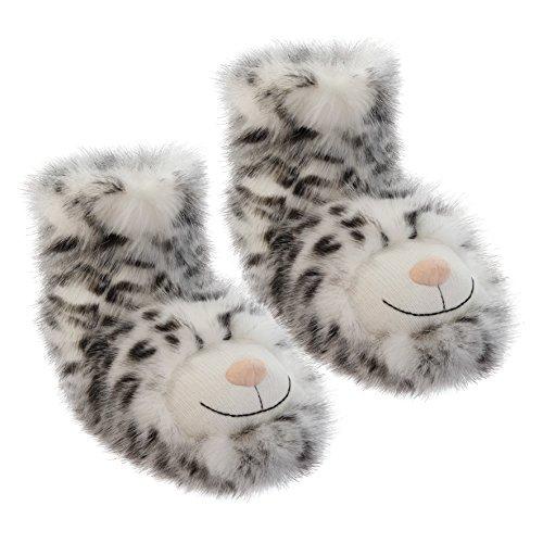 Aroma Home Shoes Women's Fun for Feet Snow Leopard Hi-Top Slippers, Grey (Grey), 7 UK 40/41 EU