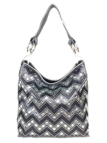 with Strap Chevron Shoulder Zzfab Hobo Rhinestone Grey Sparkle Silver Bag Gem Extra qWOSYxZ