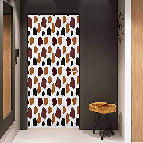 Onefzc Wood Door Sticker Cow Print Cow Skin Animal Abstract Spots Milk Dalmatian Barnyard Camouflage Dots Easy-to-Clean, Durable W30 x H80 White Brown Black