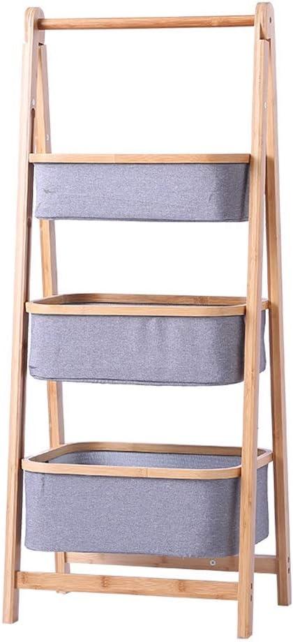 WHQ Estantería de Escalera de 3 Niveles Estantes de Almacenamiento de Ropa de bambú Ideal for Pasillo, baño, Sala de Estar BY1001 QD (Size : 42.5