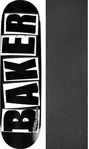 "Baker Skateboards Brand Logo Black / White Skateboard Deck - 8.25"" x 31.875"" with Jessup Griptape - Bundle of 2 items"
