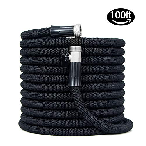 HooSeen Expandable Garden Hose – 100FT Kink-Free Flexible Water Hose with 3/4″ Anti-Rust Solid Brass Fittings, Double Latex Core and Shut Off Value Black