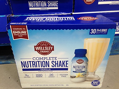 Wellsley Farms nutrition shake bonus pack vanilla 30 ct. (pack of 6) by Wellsley Farms