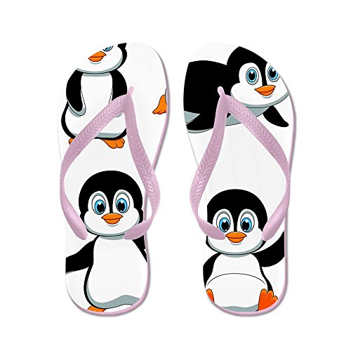 Cafepress Schattige Pinguin Cartoon - Flip Flops, Grappige String Sandalen, Strand Sandalen Roze