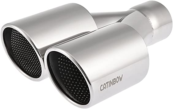 """3/"""" DUAL ANGLE SLANT TIP STAINLESS T304 BLACK WELD ON EXHAUST MUFFLER 2.5/"""" INLET"""