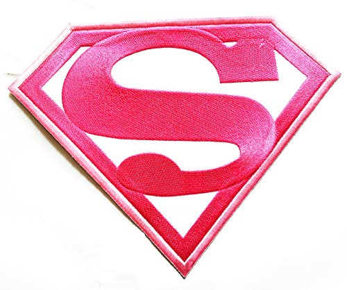 """9.2 """"X 7"""" Big Jumbo Pink White Superman Hero Superhero Movie Cartoon Logo Jacket t-Shirt Jeans Polo Patch Iron on Embroidered Logo Motorcycle Rider Biker Patch by Tour les jours Shop"""