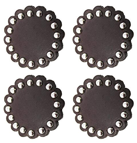 Set of 2 Conchos Leather Rosette Horse Saddle Bridle Tack Dark Brown 40206 ()