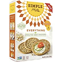 Simple Mills - Sprouted Seed Crackers - Everything Flavor - 4.25 oz, Gluten Free, Grain Free (1 Pack)