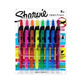 Sharpie Highlighter Clear View, Sharpie Highlighter Retractable Marker Assorted Colors (1 Pack of 8 Pcs.)