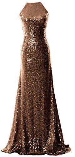 MACloth Women Halter Sequin Long Bridesmaid Dress Cowlback Evening Formal Gown Marrón