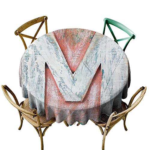 Wendell Joshua Mermaid Tablecloth 48 inch Letter M,Old Wood Capital Letter M Natural Worn Out Look Texture Language Image,Coral White Cream Suitable for Indoor Outdoor Round Tables ()