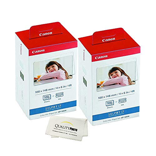 Canon KP-108IN -2 Pack- 3 Color Ink Cassette, 216 Sheets 4 x 6 Paper Glossy for SELPHY CP1300, CP1200, CP910, CP900, CP760, CP770, CP780 CP800. Bonus: Quality Photo Microfiber -