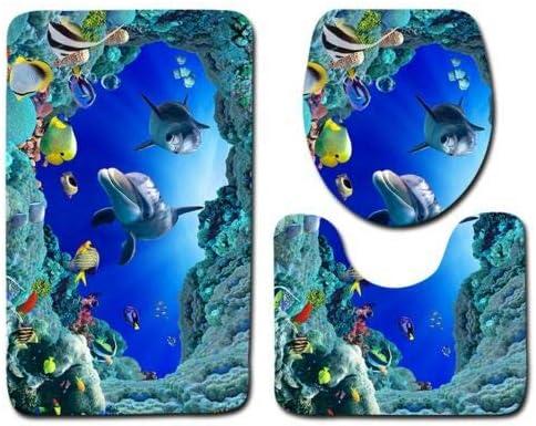 Coprisedile per WC Coperchio Set Tappeto da Bagno Stampa 3D Delfino Petyoung Set Tappetino da Bagno Antiscivolo 3 Pezzi Tappetino da Bagno
