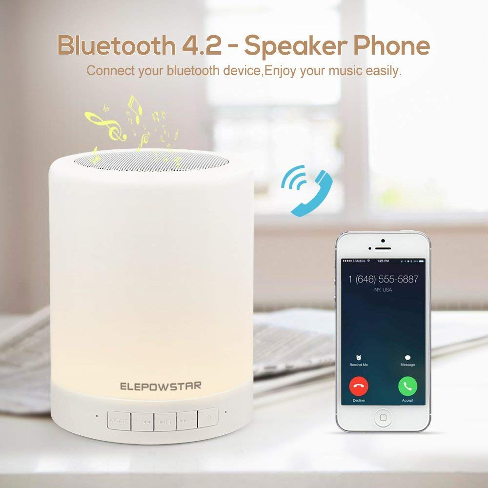 JAKROO Toque la luz Nocturna con el Reproductor de Audio Bluetooth, la lámpara de Mesa Blanca cálida Regulable y el Cambio de Color RGB,White: Amazon.es: ...