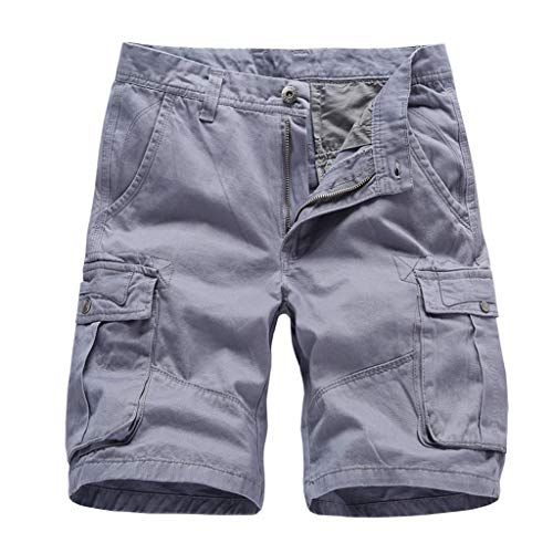 Men's Classic Relaxed Fit Stretch Cargo Short for Running Workout Fitness Gray