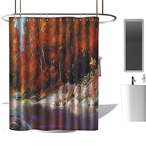 Rod Ginger Shower (Nature Decor River with Rocks Autumn Forest Peaceful Artistic Paint of Scenic Woods Art Ginger Purple Shower stall Curtains W72 x L96)