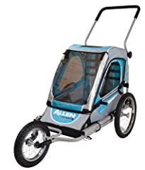 "The Allen SST1 1-Child Jogger and Bike Trailer offers the perfect 2 in 1 product for the active parent. The item quickly sets up as either a fully functional fixed wheel jogger or bike trailer right out of the box. 16"" rear wheels, and 12"" fr..."