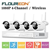 FLOUREON 4CH Wireless CCTV NVR Security Camera System 1080P+ 4 X 960P 1.0MP HD Wireless IP Network Camera Outdoor/Indoor Home/Office/Apartment Surveillance DVR Kit