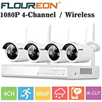 FLOUREON Wireless NVR kits CCTV House Camera System 4CH 1080P + 4 Pack 960P Wireless IP Network Wifi Camera Night Vision Motion Detection For House/Shop/Office Security Monitor(4CH+4X 960P Camera)