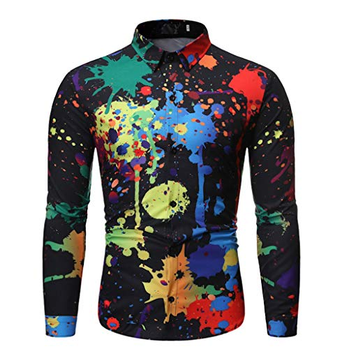 Los Angeles Halloween Costume Stores (Shirt for Men Autumn and Winter Fashion Printed Long Sleeve Tie Dye)