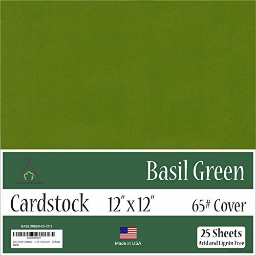 Basil Green Cardstock - 12 x 12 inch - 65Lb Cover - 25 Sheets by Clear Path Paper