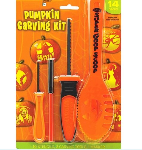 Halloween Decoration Tools ~ 14 Pc Halloween Basic Jack O Lantern Pumpkin Carving Kit with stencils
