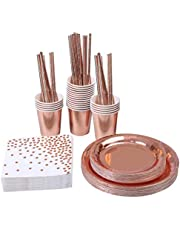 146pcs Rose Gold Bronzing Disposable Paper Cup Paper Tray Straw Paper Towel Cutlery Set Party Party Wedding Tableware Supplies