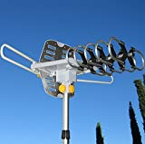 Able Signal Amplified HD Digital Outdoor HDTV Antenna with Motorized 360 Degree Rotation, UHF/VHF/FM Radio with Infrared Remote Control - Best Reviews Guide